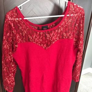 2b Bebe Red Light Sweater w/ Red/Gold Lace Sleeves